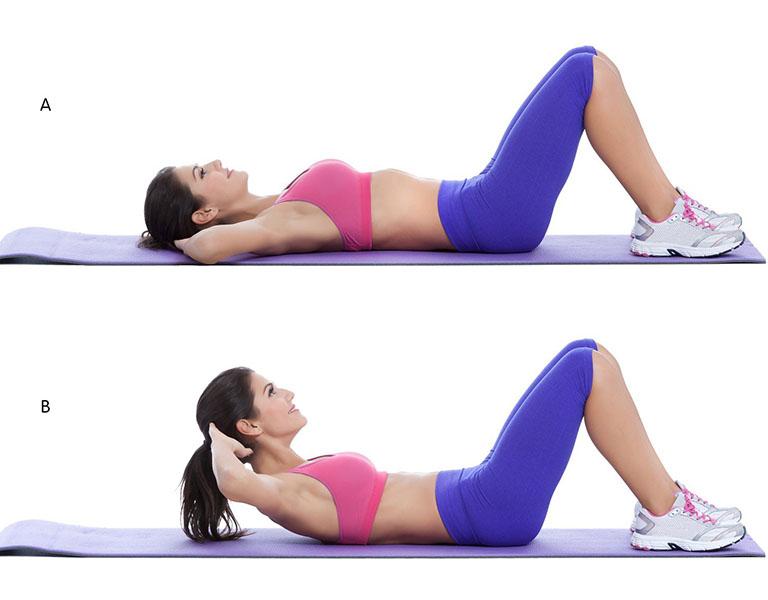 Gập cơ bụng giảm mỡ bụng dưới