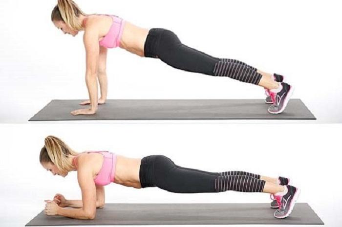 Plank cao tay, thấp tay, chân trên bóng