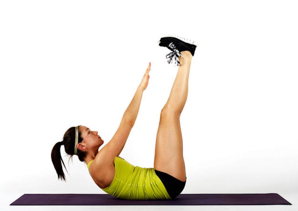 Vertical Leg Crunch - Bài tập nâng chân dọc